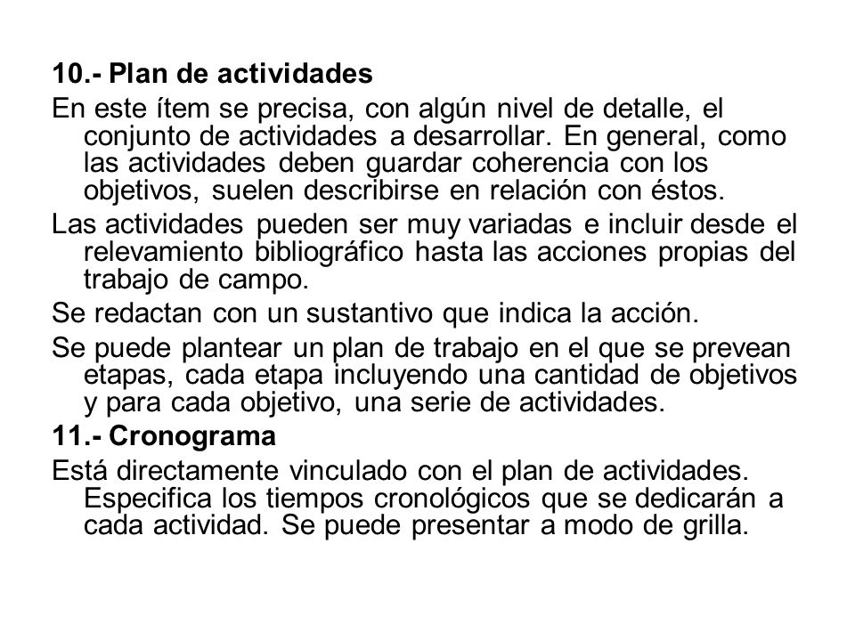 10.- Plan de actividades