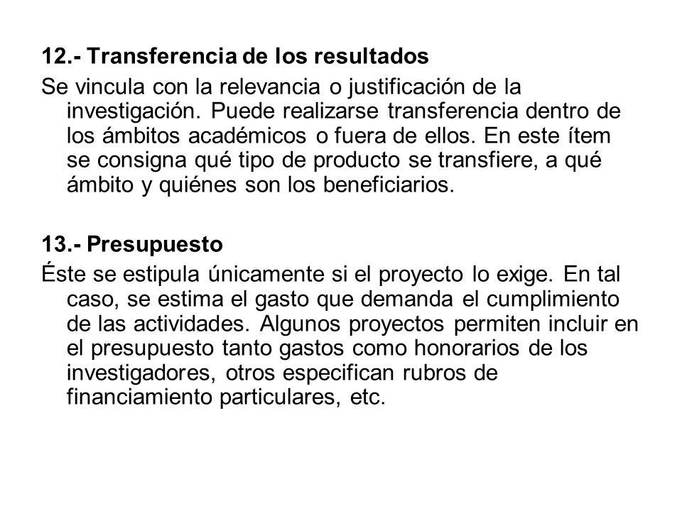 12.- Transferencia de los resultados