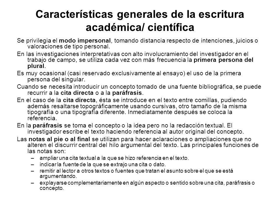 Características generales de la escritura académica/ científica