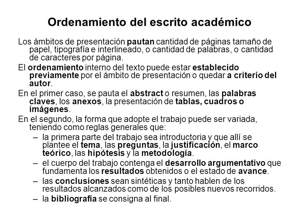 Ordenamiento del escrito académico