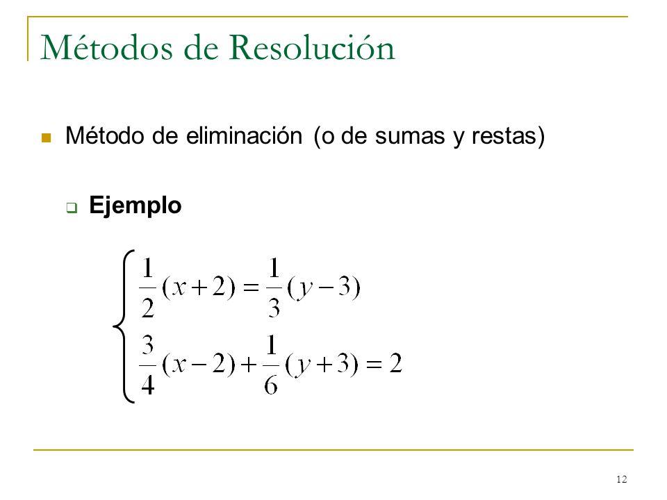 Métodos de Resolución Método de eliminación (o de sumas y restas)