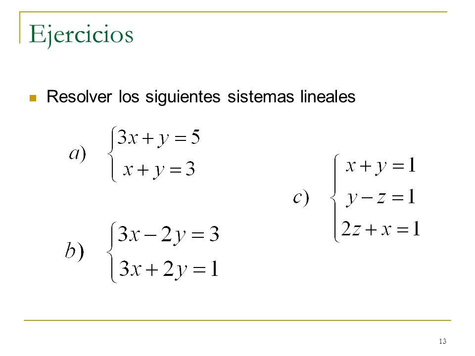 Ejercicios Resolver los siguientes sistemas lineales
