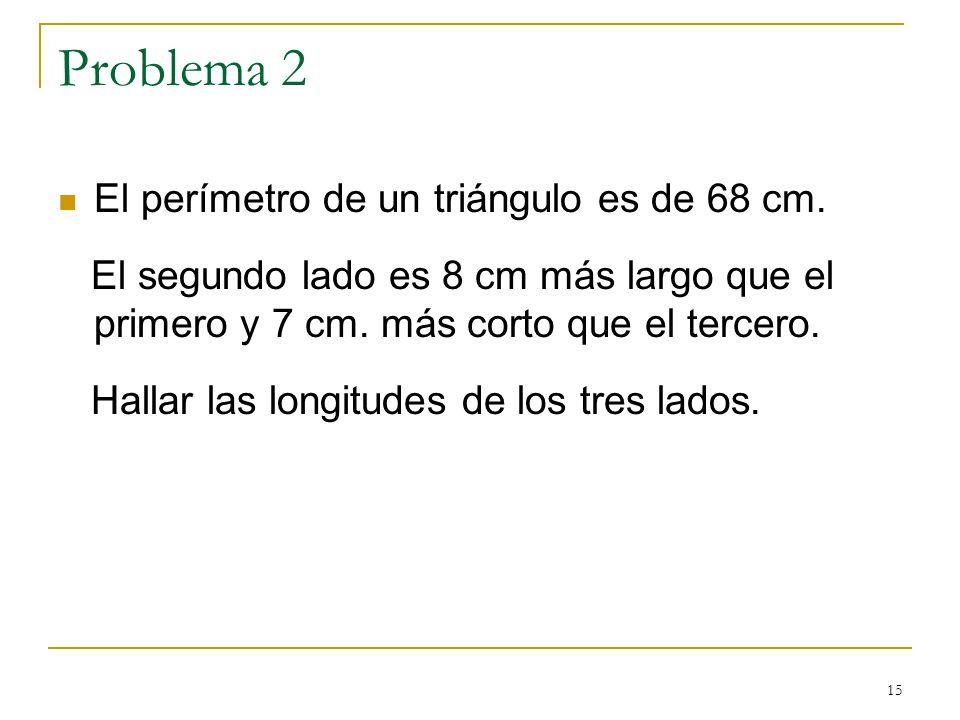 Problema 2 El perímetro de un triángulo es de 68 cm.