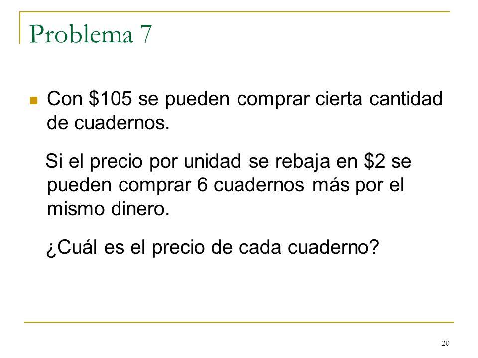 Problema 7 Con $105 se pueden comprar cierta cantidad de cuadernos.