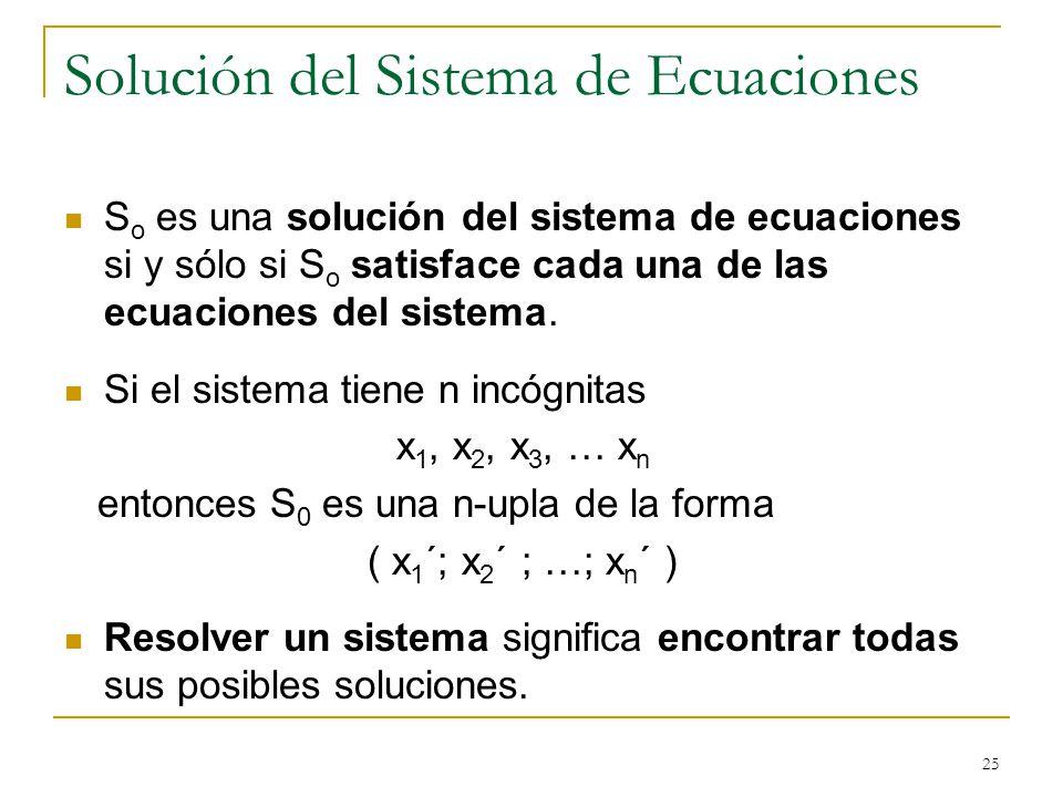 Solución del Sistema de Ecuaciones