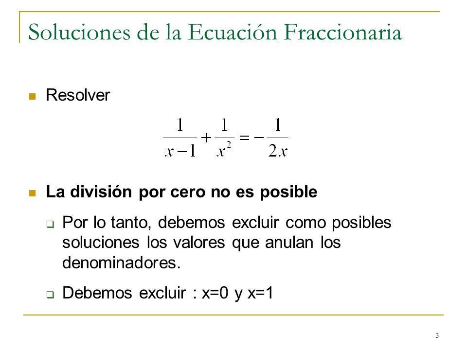 Soluciones de la Ecuación Fraccionaria