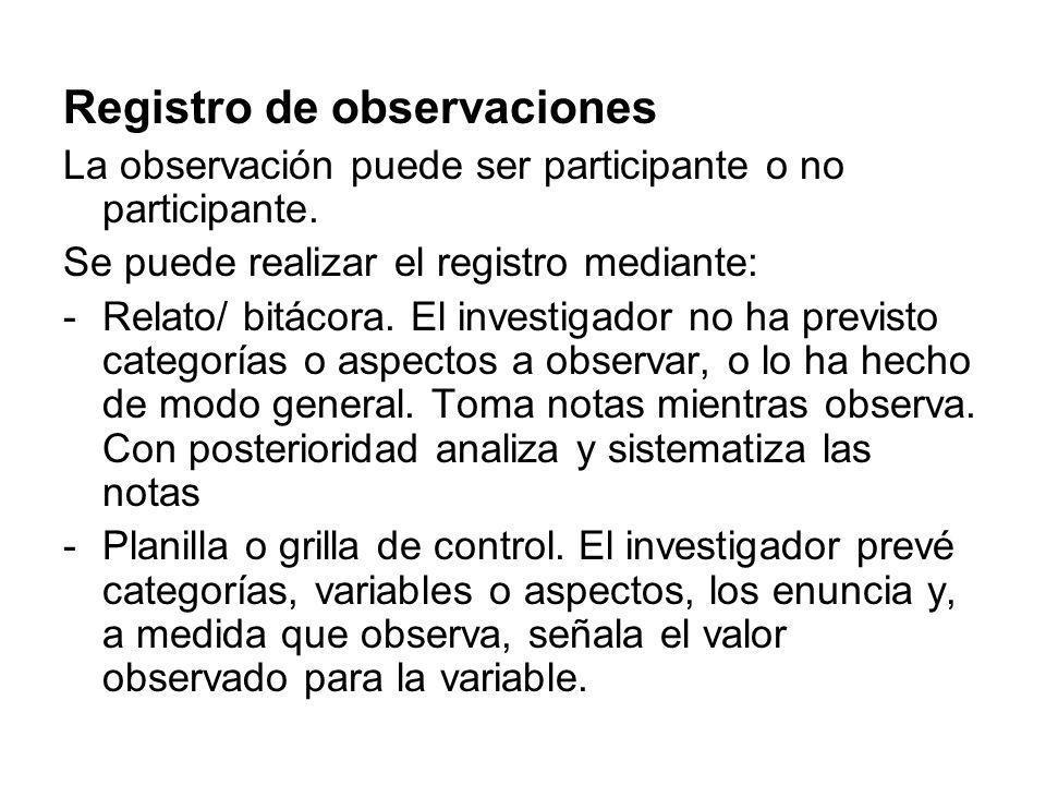 Registro de observaciones