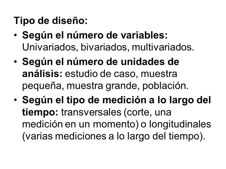 Tipo de diseño: Según el número de variables: Univariados, bivariados, multivariados.