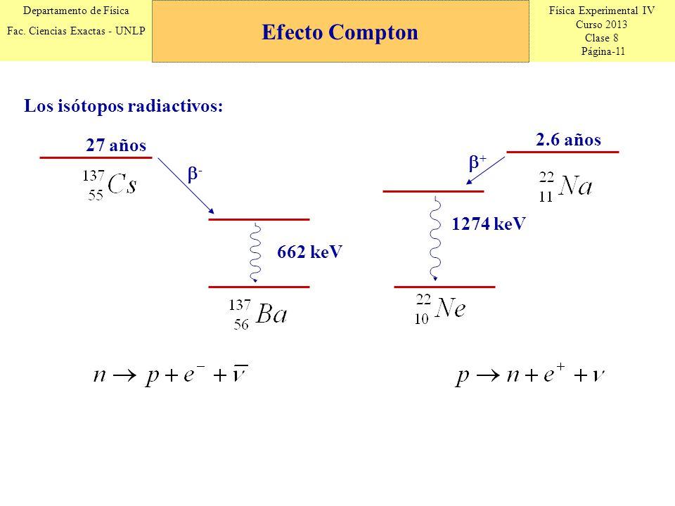 Efecto Compton Los isótopos radiactivos: 2.6 años 27 años + -