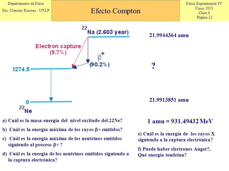 Efecto Compton 1 amu = 931.49432 MeV 21.9944364 amu 21.9913851 amu