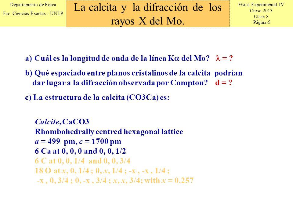 La calcita y la difracción de los rayos X del Mo.