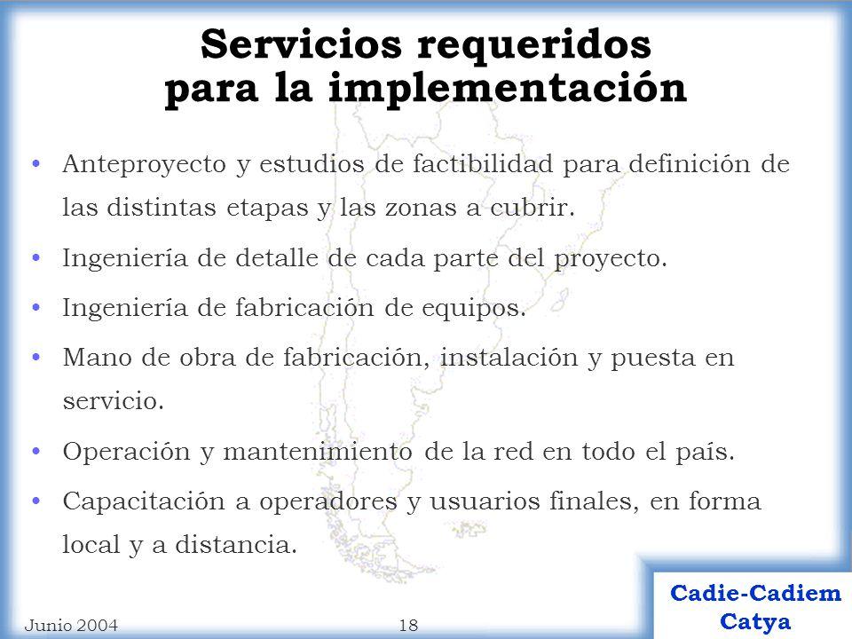 Servicios requeridos para la implementación