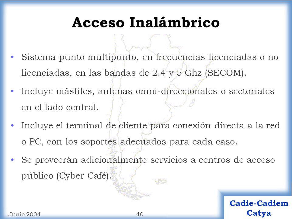 Acceso Inalámbrico Sistema punto multipunto, en frecuencias licenciadas o no licenciadas, en las bandas de 2.4 y 5 Ghz (SECOM).