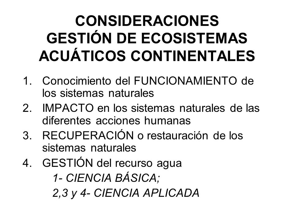 CONSIDERACIONES GESTIÓN DE ECOSISTEMAS ACUÁTICOS CONTINENTALES