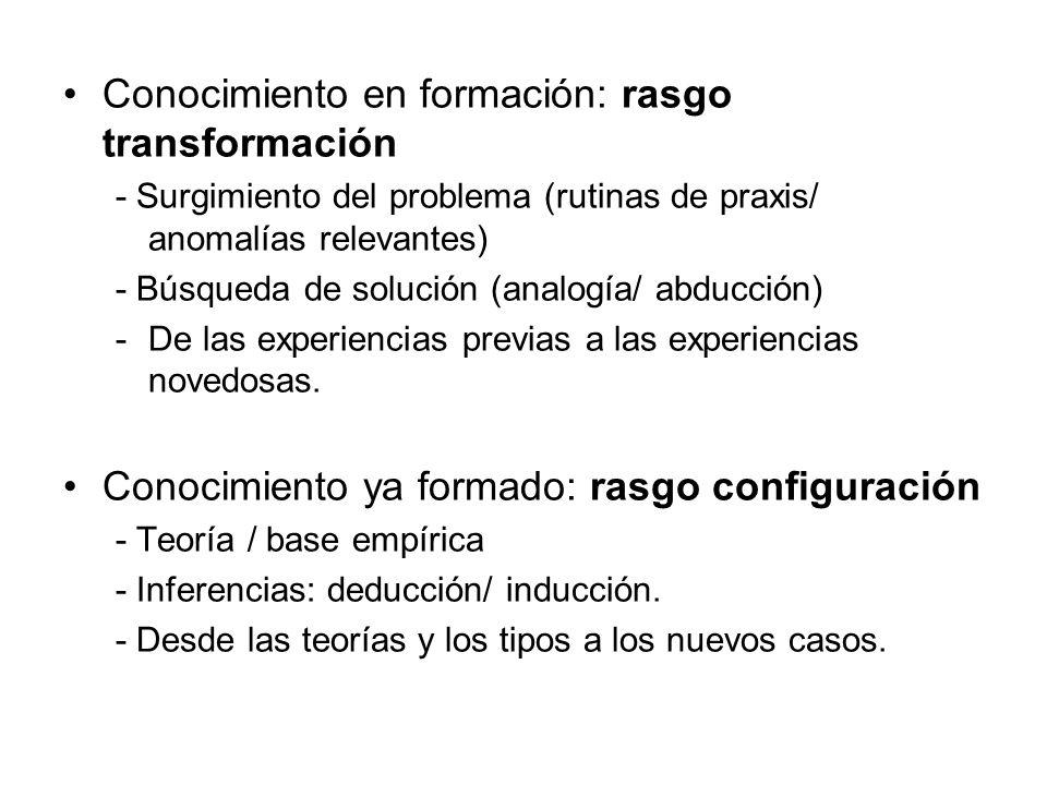 Conocimiento en formación: rasgo transformación