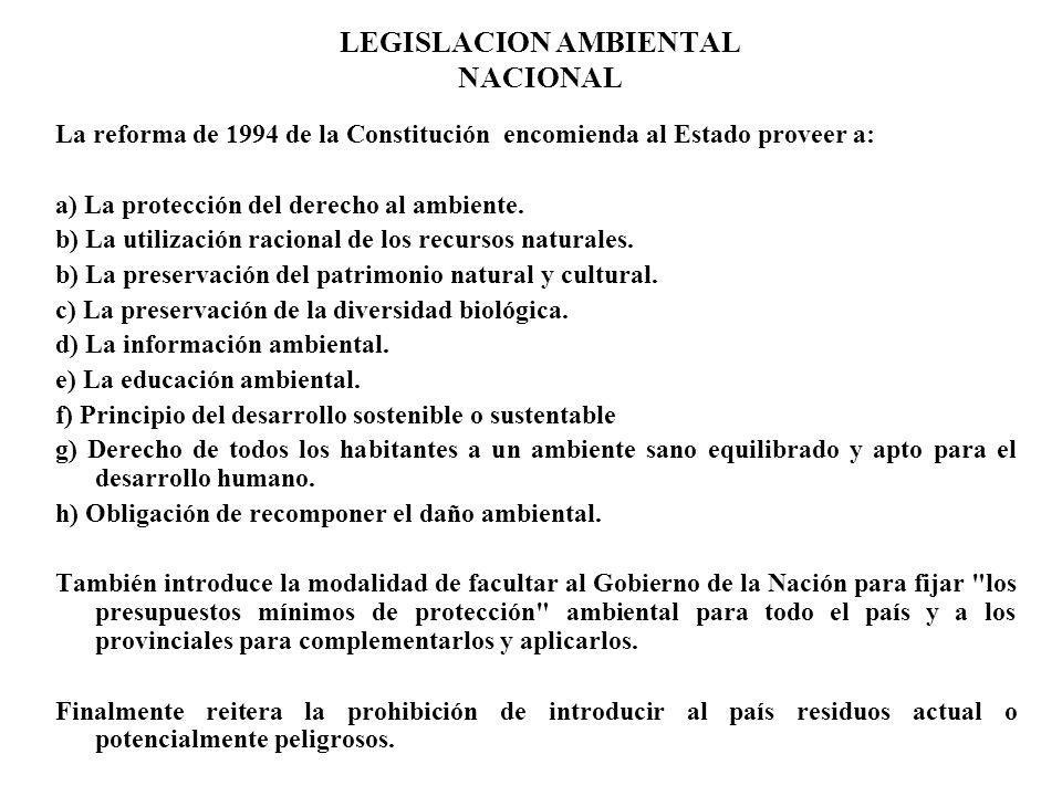 LEGISLACION AMBIENTAL NACIONAL