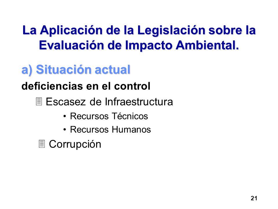 La Aplicación de la Legislación sobre la Evaluación de Impacto Ambiental.