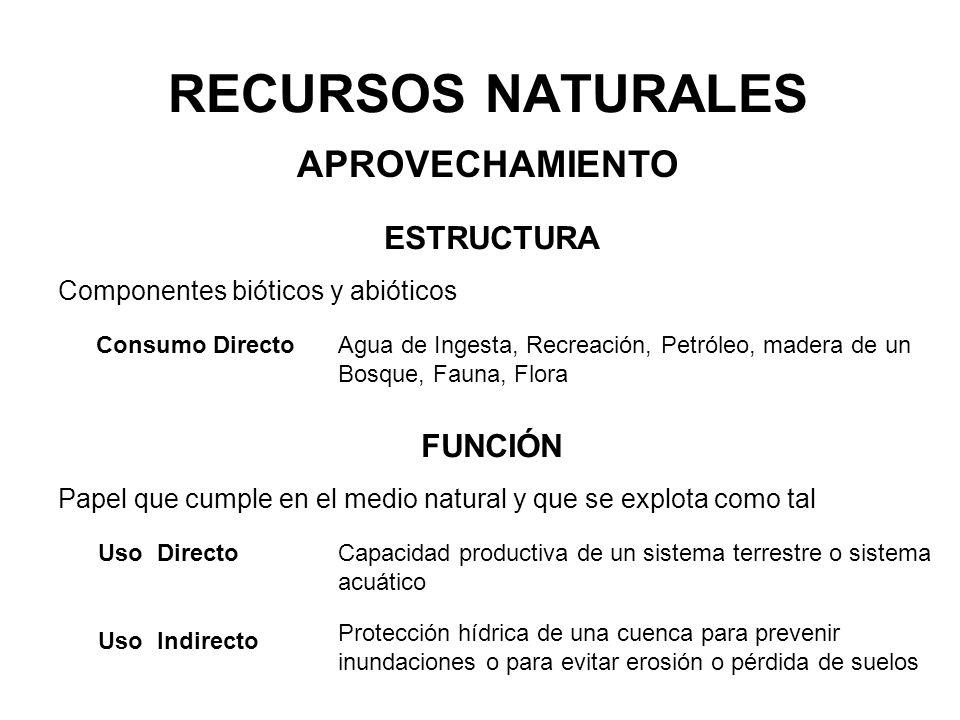 RECURSOS NATURALES APROVECHAMIENTO ESTRUCTURA FUNCIÓN