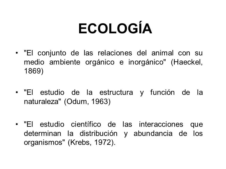 ECOLOGÍA El conjunto de las relaciones del animal con su medio ambiente orgánico e inorgánico (Haeckel, 1869)