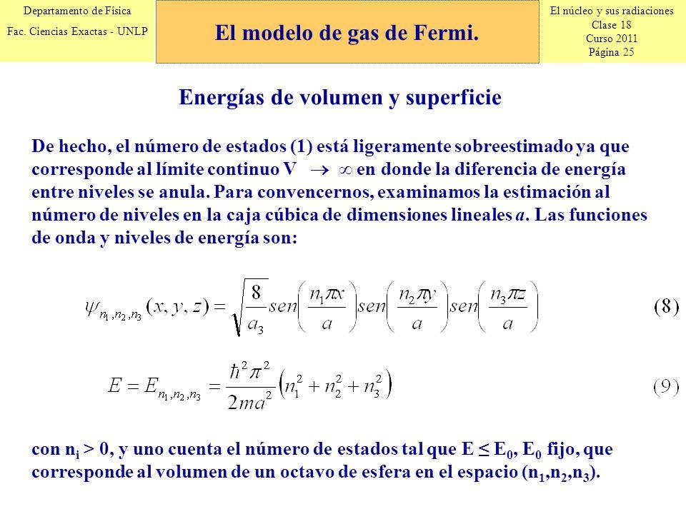El modelo de gas de Fermi. Energías de volumen y superficie