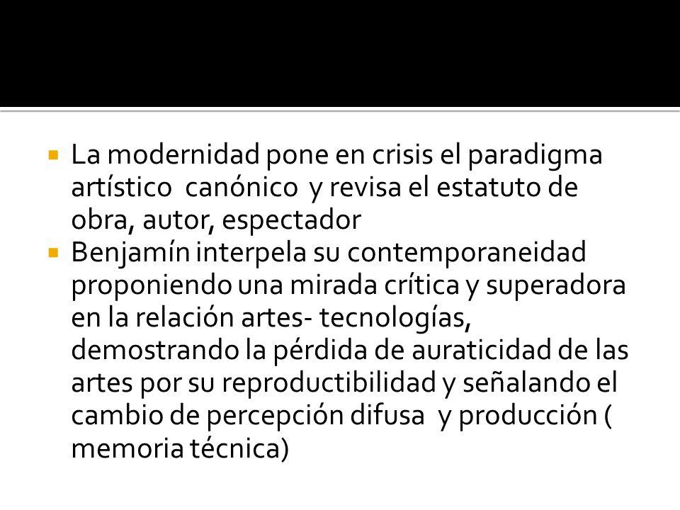 La modernidad pone en crisis el paradigma artístico canónico y revisa el estatuto de obra, autor, espectador