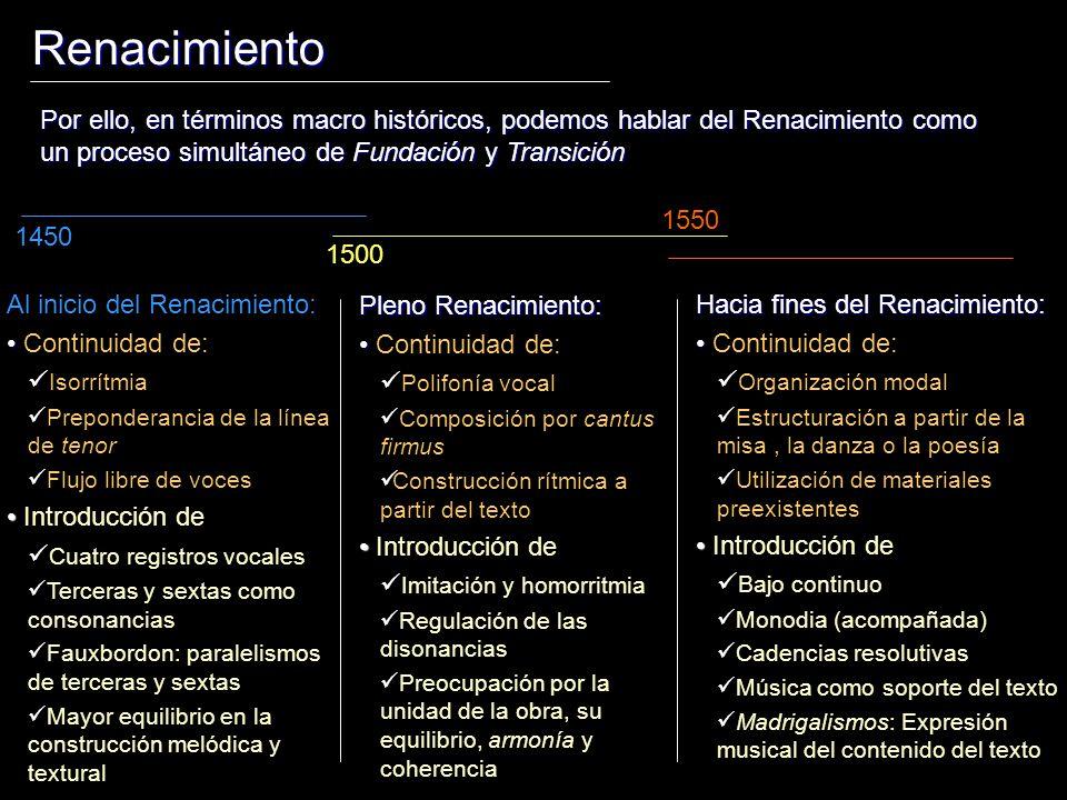 Renacimiento Por ello, en términos macro históricos, podemos hablar del Renacimiento como un proceso simultáneo de Fundación y Transición.