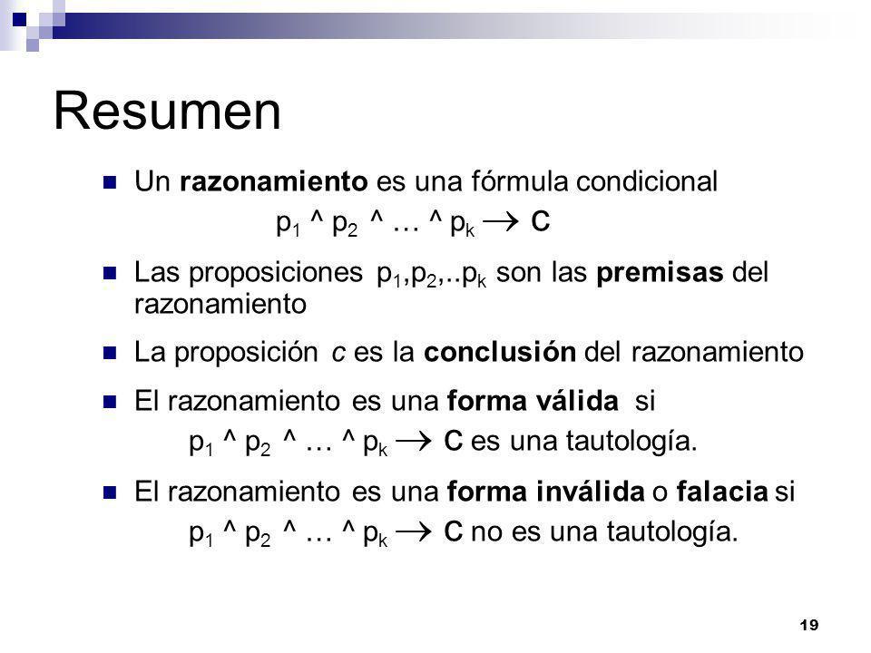 Resumen Un razonamiento es una fórmula condicional p1 ^ p2 ^ … ^ pk  c.