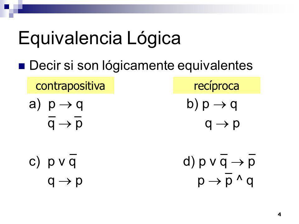 Equivalencia Lógica Decir si son lógicamente equivalentes