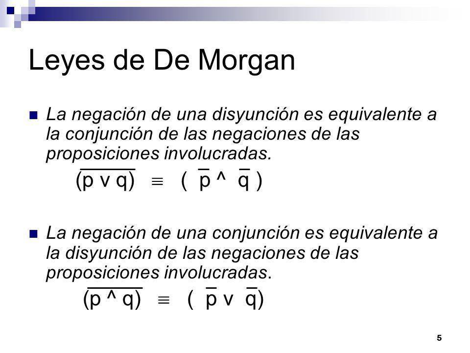 Leyes de De Morgan (p v q)  ( p ^ q )
