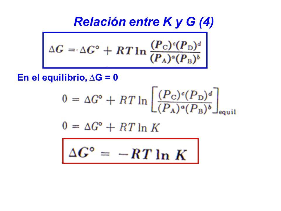 Relación entre K y G (4) En el equilibrio, ∆G = 0