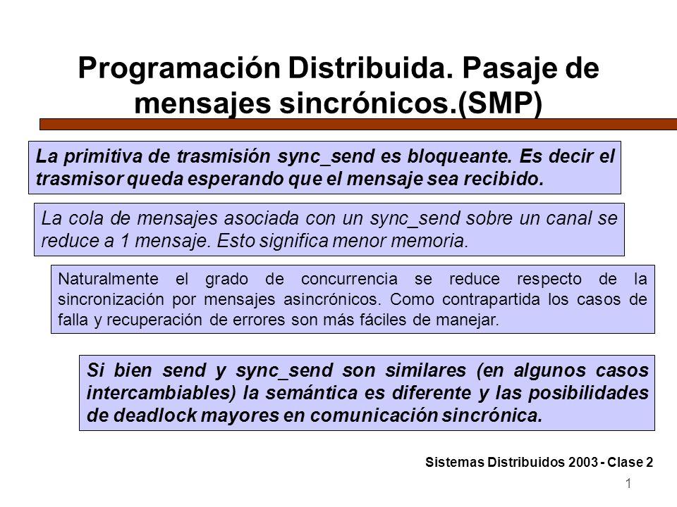 Programación Distribuida. Pasaje de mensajes sincrónicos.(SMP)
