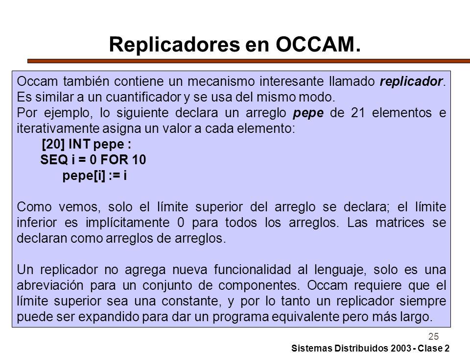 Replicadores en OCCAM. Occam también contiene un mecanismo interesante llamado replicador. Es similar a un cuantificador y se usa del mismo modo.
