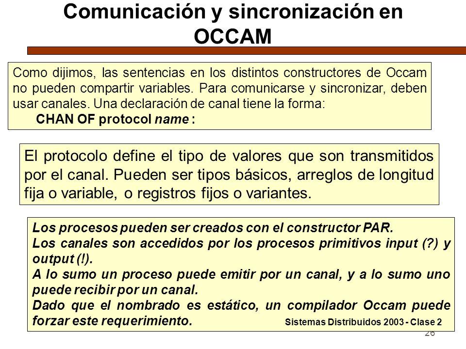 Comunicación y sincronización en OCCAM