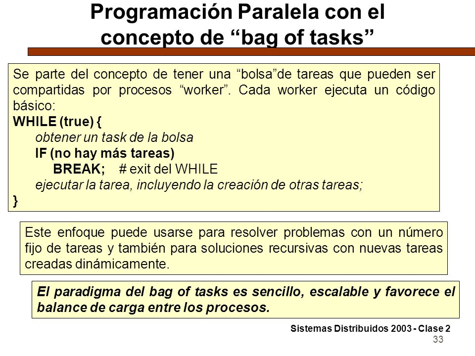 Programación Paralela con el concepto de bag of tasks