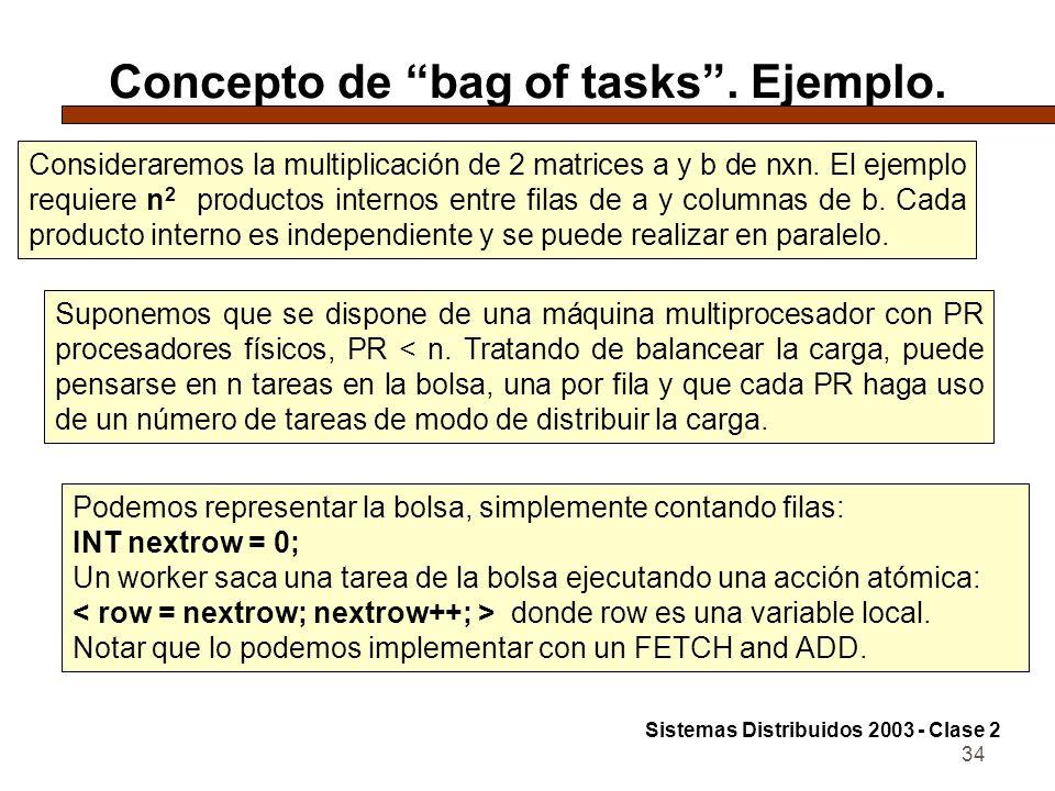 Concepto de bag of tasks . Ejemplo.