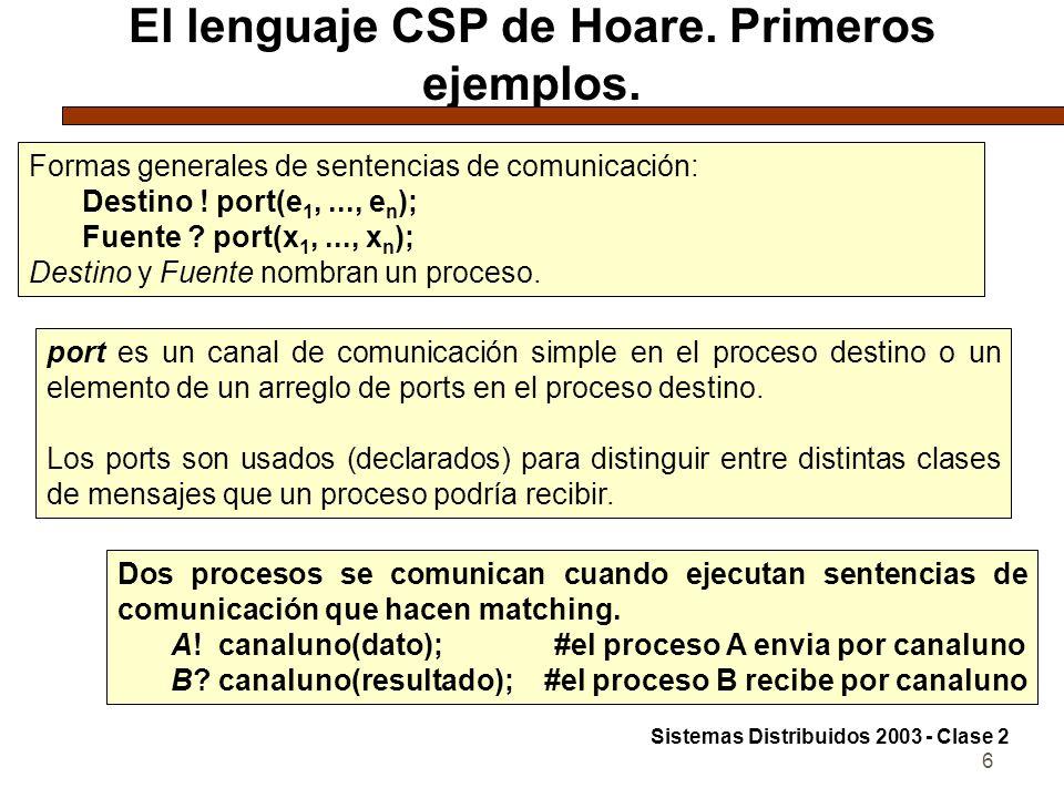 El lenguaje CSP de Hoare. Primeros ejemplos.