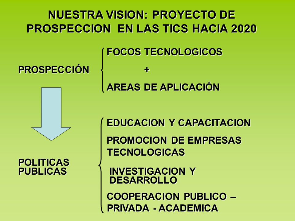 NUESTRA VISION: PROYECTO DE PROSPECCION EN LAS TICS HACIA 2020