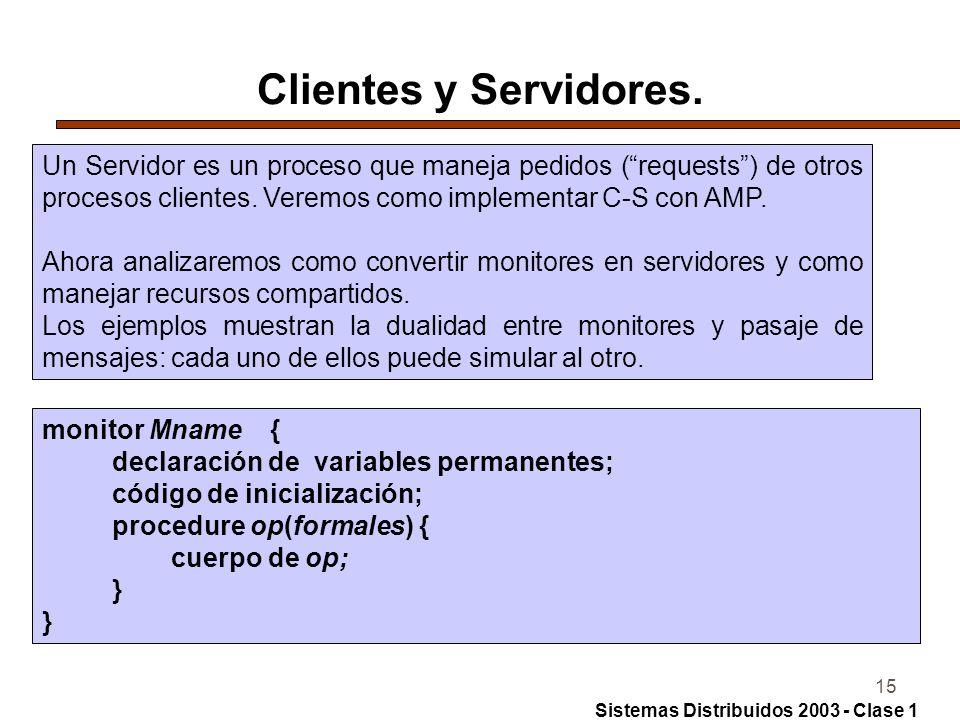Clientes y Servidores. Un Servidor es un proceso que maneja pedidos ( requests ) de otros procesos clientes. Veremos como implementar C-S con AMP.