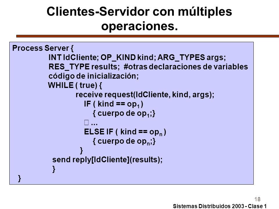 Clientes-Servidor con múltiples operaciones.
