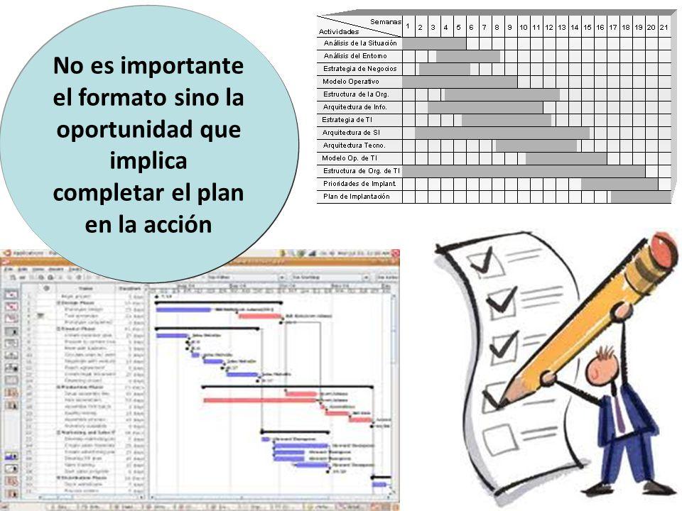 No es importante el formato sino la oportunidad que implica completar el plan en la acción