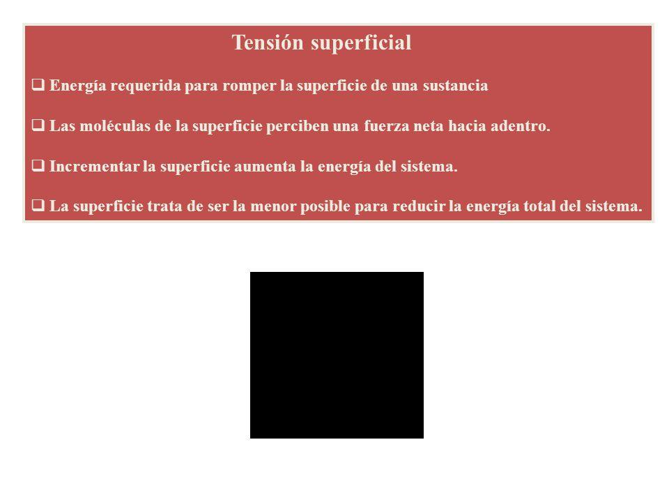 Tensión superficial Energía requerida para romper la superficie de una sustancia.