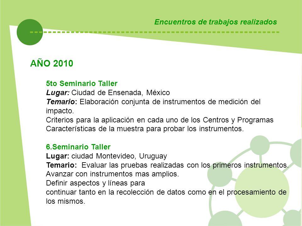 AÑO 2010 Encuentros de trabajos realizados 5to Seminario Taller