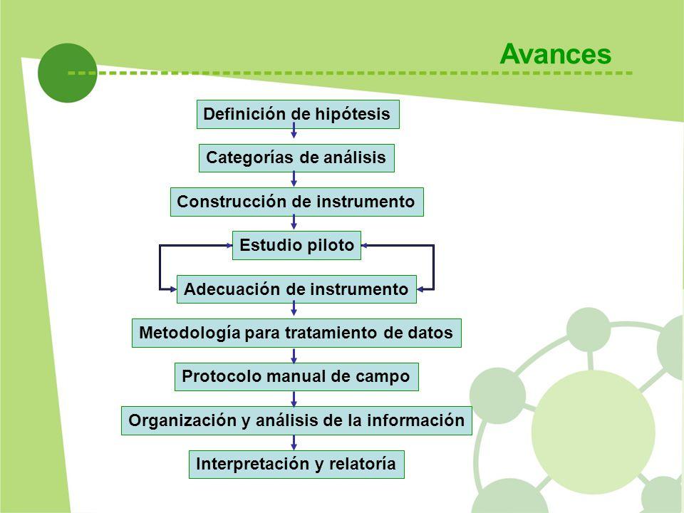 Avances Definición de hipótesis Categorías de análisis