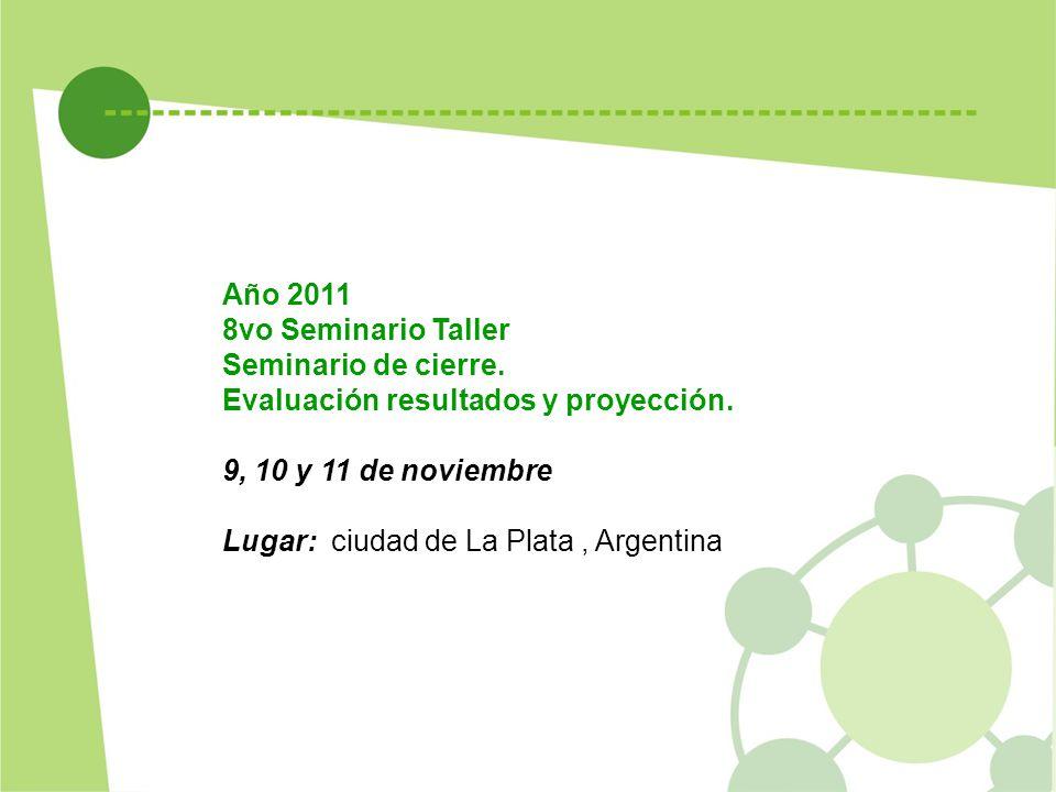Año 2011 8vo Seminario Taller. Seminario de cierre. Evaluación resultados y proyección. 9, 10 y 11 de noviembre.
