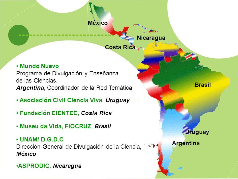 México Nicaragua. Costa Rica. Mundo Nuevo, Programa de Divulgación y Enseñanza. de las Ciencias.