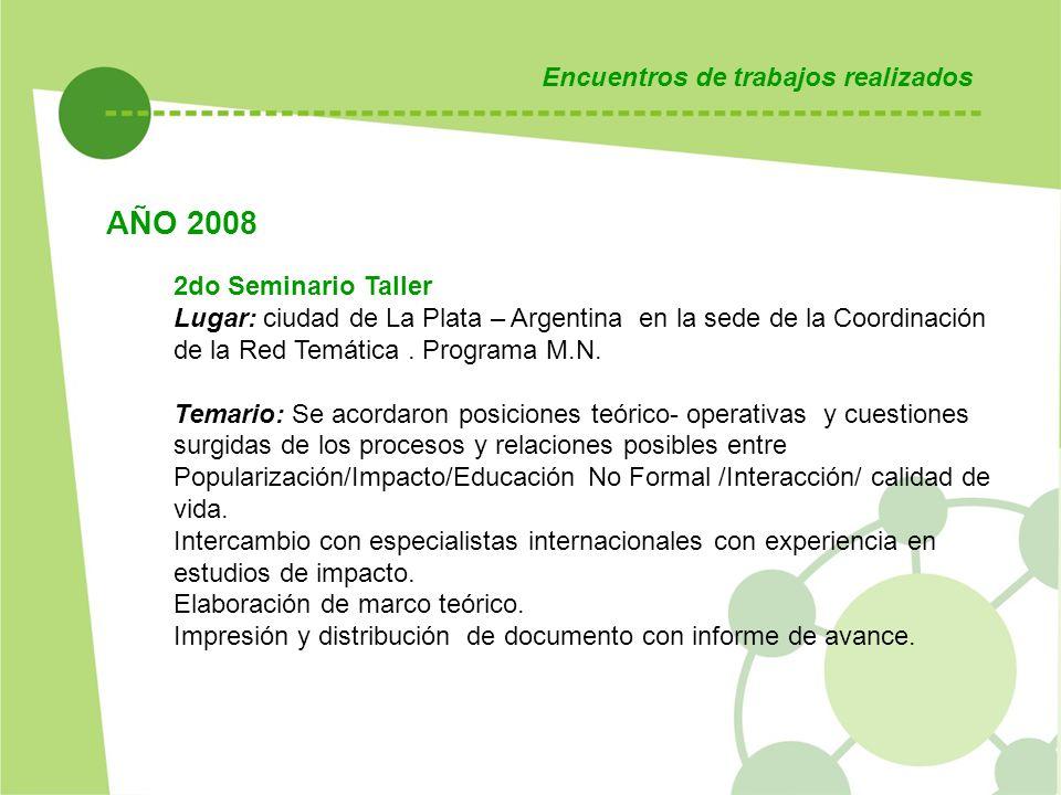 AÑO 2008 Encuentros de trabajos realizados 2do Seminario Taller