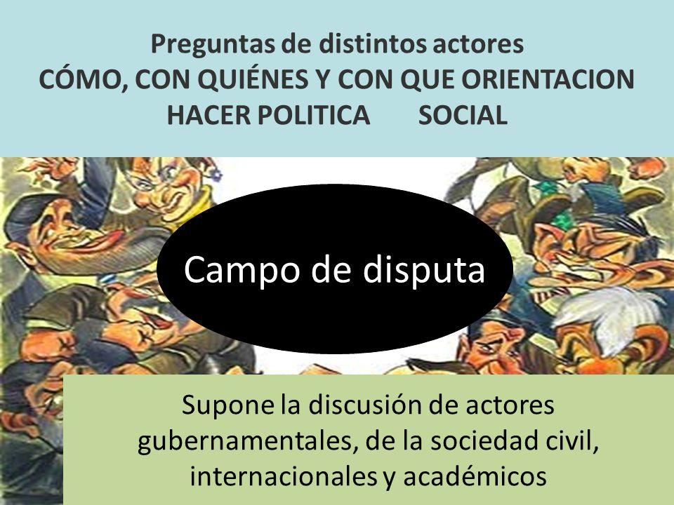 Campo de disputa Preguntas de distintos actores