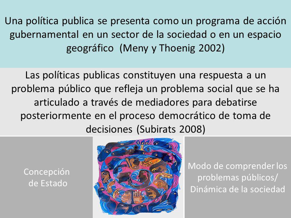 Una política publica se presenta como un programa de acción gubernamental en un sector de la sociedad o en un espacio geográfico (Meny y Thoenig 2002)