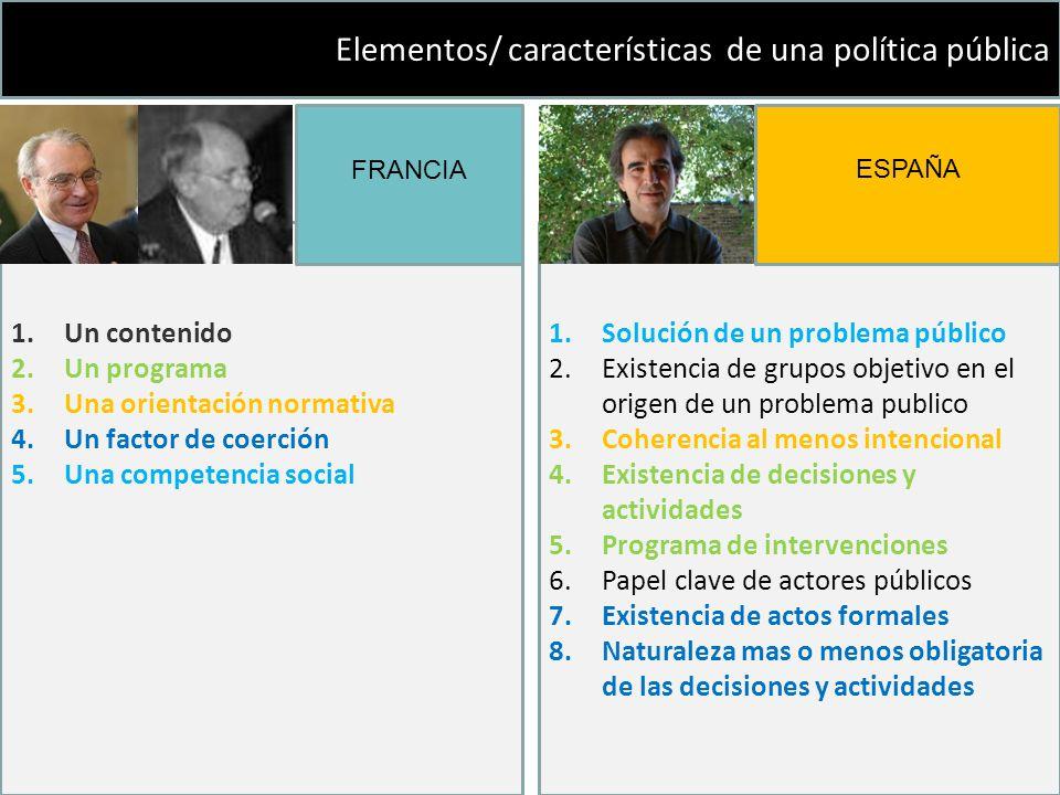 Elementos/ características de una política pública