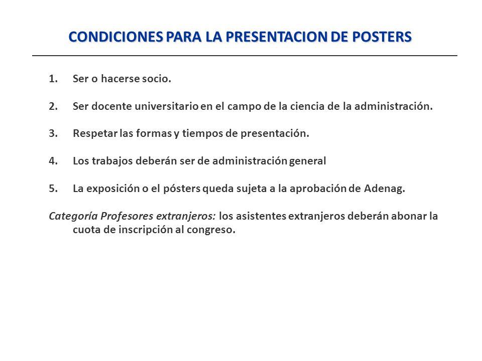 CONDICIONES PARA LA PRESENTACION DE POSTERS